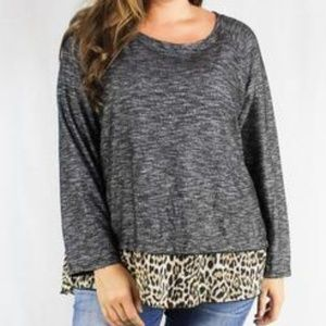 Tops - Long-sleeve Plus-size Knit Top, Gray/Cheetah Print